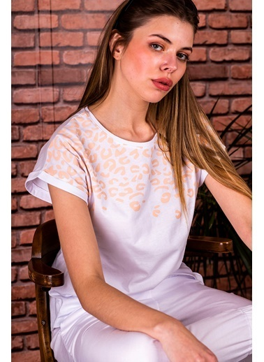 Stamina  Bayan Bisiklet Yaka Leopar Desenli Kısa Kol Bluz-5SP02 Beyaz